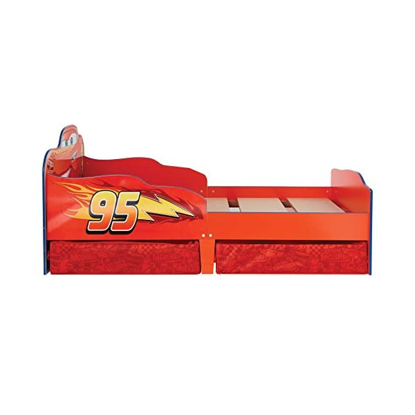 Hello Home Disney Cars Kids Toddler Bed with underbed Storage, Wood, Red, 143x77x63 cm  Perfect for transitioning your little one from cot to first big bed The perfect size for toddlers, low to the ground with protective side guards to keep your little one safe and snug Two handy underbed, fabric storage drawers 3