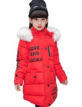 YYF Kinder Mädchen Lange Winterjacke mit Fellkapuze Outerwear Oberbekleidung Winter Kleidung Verdichte Kinderjacke...