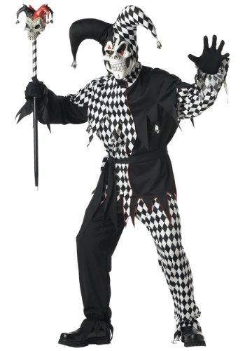 Schwarz Und Weiß Evil Jester Kostüm - Generique - Halloween Clownkostüm für