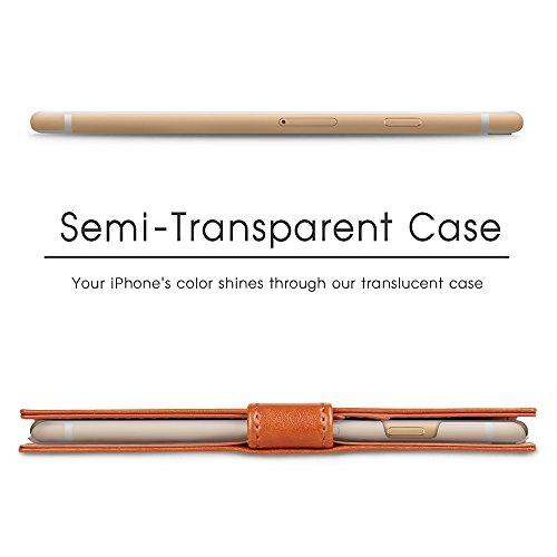 iPhone 6S Plus Hülle [TORU Prestizio] [Portemonnaie] Handyhülle Brieftasche für Karten und Ausweisfach, Ständer, Handgelenkband - Schwarz Braun