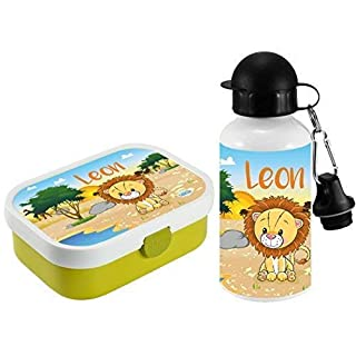 Mein Zwergenland Brotdose Mepal Campus inkl. Bento Box und Gabel + Alu-Trinkflasche mit eigenem Namen Lime, Löwe