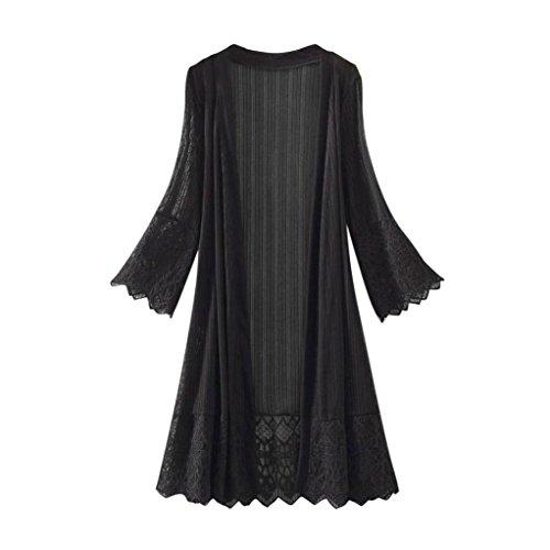 ❤️ Kimonos Mujer,Modaworld Moda Casual Mujeres de Manga Larga Tops de Encaje Blusa Camiseta Smock Cardigans Mujer Camisola Playa Chaqueta Mujer Primavera Otoño