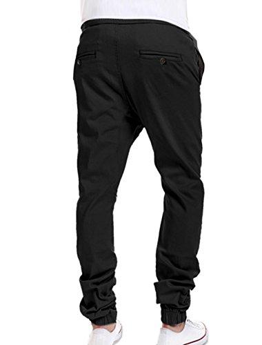 sourcingmap® Taille élastique avec cordon hommes Mock Fly Harem pantalon Black