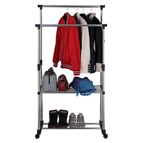 Mari Home - Doppel-Kleiderständer / Kleiderstange Garderobenständer Wäschetrockner, Einstellbare Höhe, robust, Metall, mit Mittleres und unteres Schuhregal und Rollen