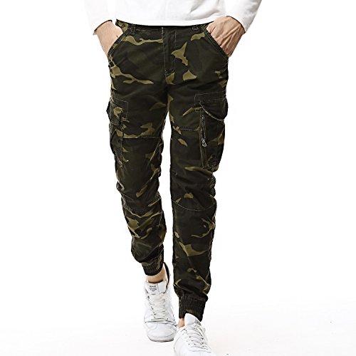 AYG Herren Camouflage Hose Cargo Hosen Combat Trousers(dark green camo,36)