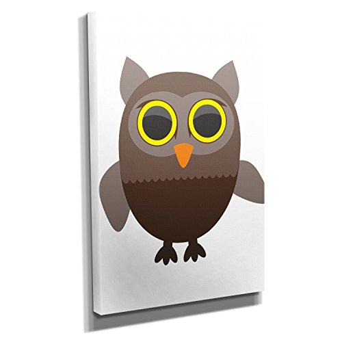 Nerdinger Cute Owl - Kunstdruck auf Leinwand (60x90 cm) zum Verschönern Ihrer Wohnung. Verschiedene Formate auf Echtholzrahmen. Höchste Qualität.