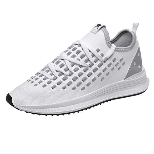 BHYDRY Fashion Sneakers Uomo Traspirante Mesh Casual Sport Selvatici Scarpe Volanti Linea Scarpe da Corsa(44 EU,Bianco)