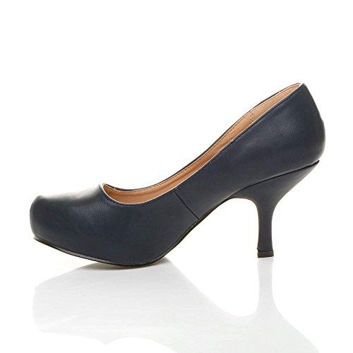 Damen Kleiner Mittel Absatz Versteckte Plateau Arbeit Fesch Schuhe Pumps Größe Dunkelblau matt