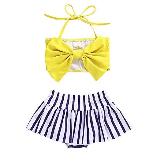 Tianhaik Baby Mädchen Badeanzug mit Schleife und gestreiften kurzen Hosen, 2 Stück Gr. 1-2 Jahre, gelb -