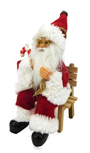 Christmas concepts® 12cm figura di babbo natale seduto in poltrona ornamento di natale - decorazione natalizia tradizionale