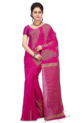Wooden Tant Women's Silk Cotton Saree With Blouse Piece (Wtg02_Pink)