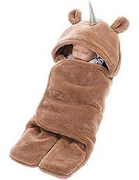 Manta De Bebé Unicornio Saco De Dormir con Capucha Swaddle Mantener Caliente Unisex