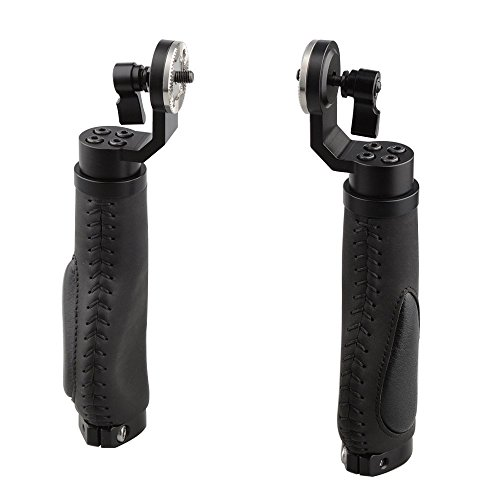 CAMVATE Aluminium Rosette Leder Griff für Rosette Style One Paar (schwarz, M6 Gewinde, 31.8 mm) -
