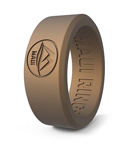 MAUI RINGS Best Silicone Wedding Ring by SOLID Style Silikon Ehering und Hochzeit Ring Verlobungsringe für Männer Gummi Ring Herren Ringe Silikon Ring GOLDEN Sand [DE60] US:9/UK:R(18.95mm) (Für Männer Hochzeit Ringe Gummi)