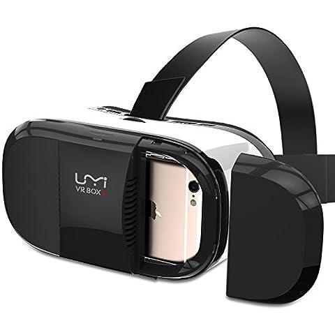 Umi VR Gafas de Realidad Virtual 3D, Video Virtual con Lentes Ajustables Headset VR Box 3, Cinta de Sujeción Para la Cabeza, Gatillo Magnético Para Películas 3D / Juegos para Iphone Samsung Smartphones entre 4.7~6 pulgadas - Color Negro y