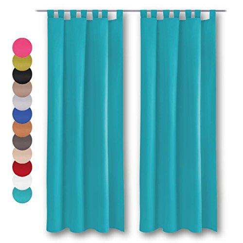 Dekoschal 2er Pack mit Schlaufen, Vorhang Gardine, Auswahl: 140 x 145 cm türkis - pfauenblau