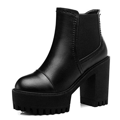 [rau mit] Martin stiefel Short boots High heels Dicken sohlen Neutral-schwarz Fußlänge=24.8CM(9.8Inch) (Herren Kleiden Stiefel Zip)