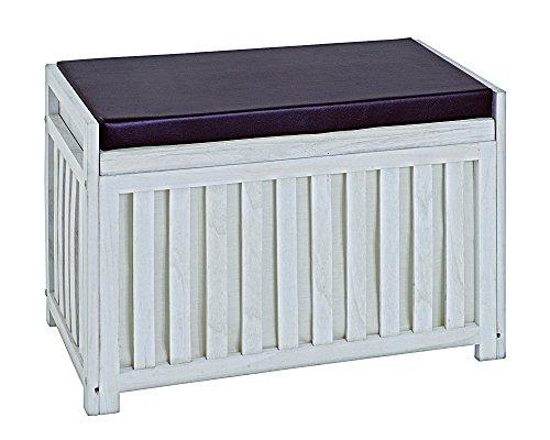 PEGANE Banc de rangement en bois massif coloris essuyé blanc, Dim : 65 x 33 x 46 cm