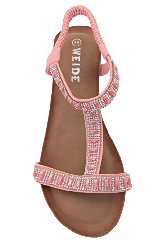 FANTASIA BOUTIQUE Damen Strass Juwelen T-riemen Elastischer Band Gepolstert Klein Keilabsatz Sandalen Rosa