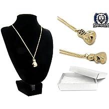 Caja de Regalo, Diseño de mini guantes de boxeo collar dorado colgante para hombre ideal Gift- (en caja de regalo) regalo ideal
