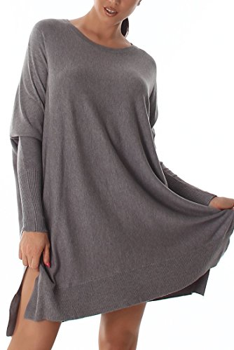 Pullover da donna maglione maglia Poncho Maglione Oversize Maglione Fatto a maglia maglia fine Long colori nuovo grigio taglia unica