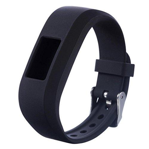 Kinder-Armbanduhr-Band Sport, HappyTop 22mm Silikonarmband Ersatz-Armband für Garmin Vivofit Jr Junior, Herren, Schwarz