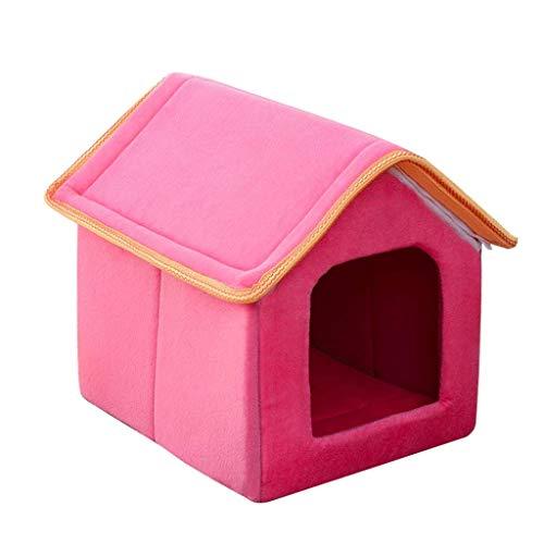 JAG Zwinger Katzenstreu Winter Warm Geschlossenes Haus Waschbarer Katzenschlafsack Kleiner Hund Haustier Nest Bett Zimmer DREI Farben Optional (Farbe: Rosa, Größe: L) -