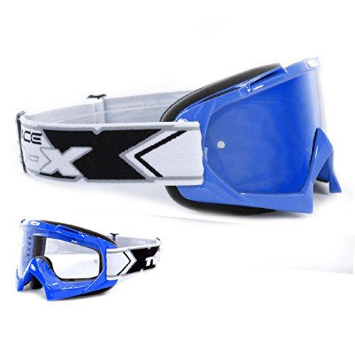 TWO-X Race Crossbrille blau Glas verspiegelt blau MX Brille Motocross Enduro Spiegelglas Motorradbrille Anti Scratch MX Schutzbrille