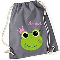 Personalised Drawstring bag for girls | frog & crown name print | gym bag kids children | school swim backpack 100% cotton