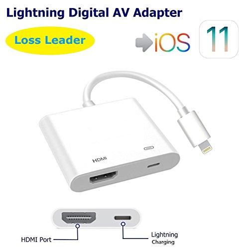 Adaptateur AV numérique Lightning, MOFOM Adaptateur iPhone iPad vers HDMI avec port de charge Lightning pour HD TV Monitor Projecteur 1080P Support iOS 9/10/11