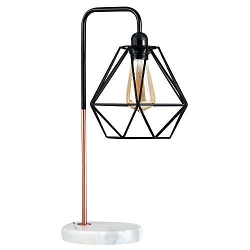 retro-style-black-copper-metal-white-marble-base-table-lamp-complete-with-a-gloss-black-metal-basket