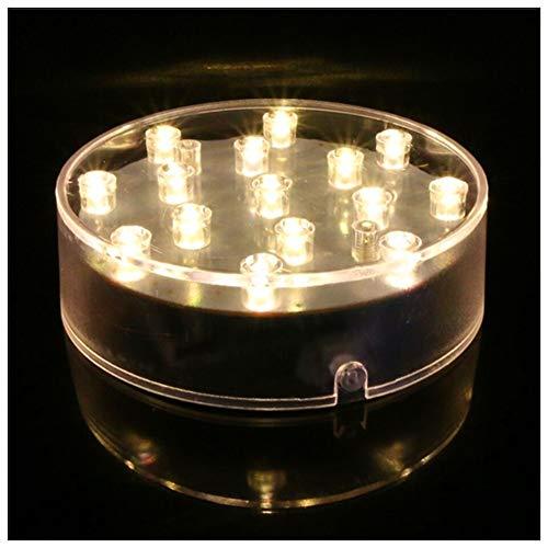 Lacgo Halloween Weihnachten 10,2 cm Runde Vase Sockel Lichter batteriebetriebener Sockel für Vasen Tischdekoration (Warmweiß)
