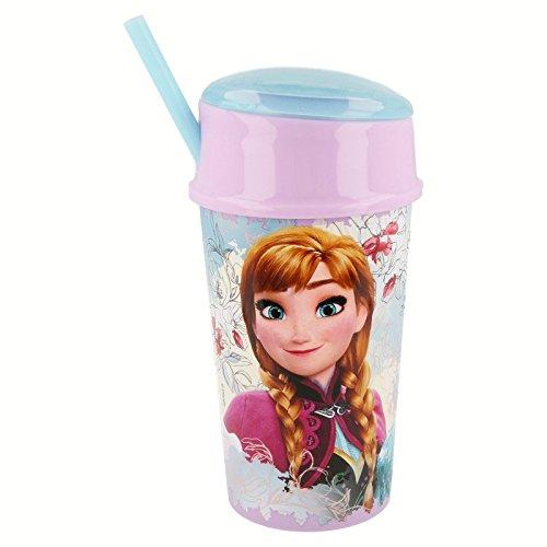 Frozen - Vaso plastico con tapa, pajita y compartimento snack 400 ml (Stor 22801)