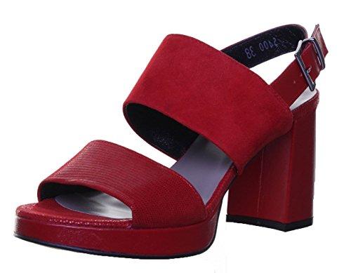 Justin Reece 5400Sandales pour femme en daim en cuir Sandales Rouge - Red RK1