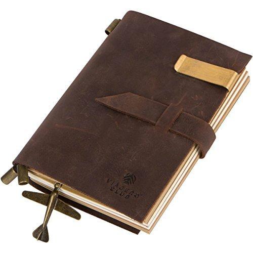 Echtes Leder Travel Journal mit nachfüllbar Notebooks (180Seiten), 15x 10,4cm, Vintage, braun, handgefertigt, perfekte Geschenk für Damen und Herren kaffeebraun (Notebook Paper 7 X 9)