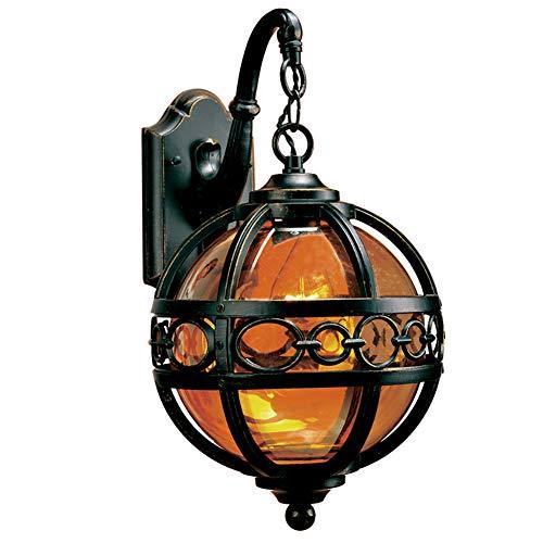 Vintage Außenlampe Rustikale Aussenleuchte Wasserdicht IP54 Aluminiumguss und Glas Retro hoflampe Antik Aussen E27 Außen-Wandleuchte for Hof Garten Outdoor 60W 230V Schwarz -