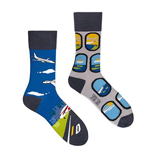 Spox Sox Casual Unisex - mehrfarbige, bunte Socken für Individualisten, Gr. 40-43, Flugzeuge