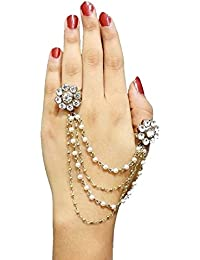 MEENAZ Adjustable American Diamond Gold Plated Chain Bracelet Rings For Women