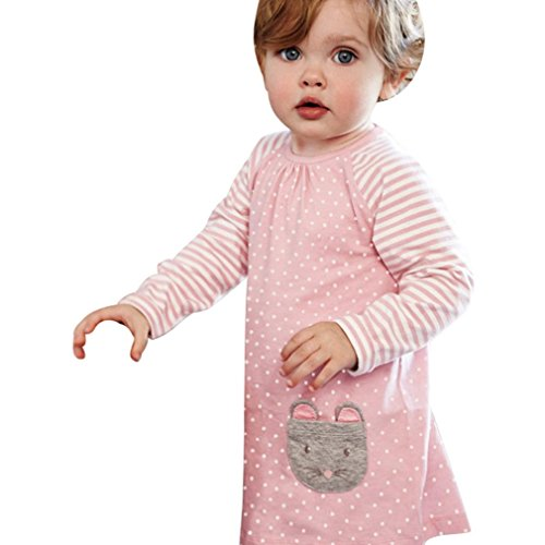 (JERFER Baby Kleinkind-Mädchen Langarm Herbst Karikatur Prinzessin T-Shirt Kleid 2-6T (H, 4T))