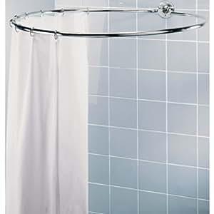 Barre circulaire pour rideau de douche Finition chromée Avec gant de nettoyage HSB en microfibre