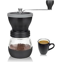 Moulin à café, Aidodo manuel Broyeur à Café Céramique Hand Coffee Grinder Poivre et épices, acier Inoxydable Paramètres de Finesse réglables et de 100g grande capacité