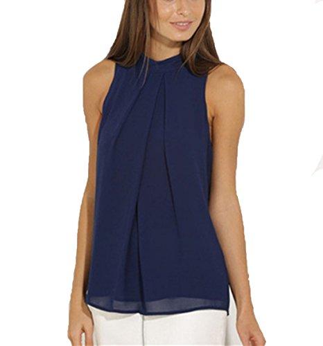 ASCHOEN Damen Shirt Ärmellos Oberteil Elegant Tank Tops T-Shirt Casual Bluse Chiffon Dunkelblau