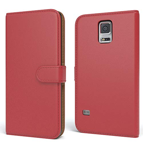 EAZY CASE Tasche für Samsung Galaxy S5/LTE+/Duos/Neo Schutzhülle mit Standfunktion Klapphülle im Bookstyle, Handytasche Handyhülle Flip Cover mit Magnetverschluss und Kartenfach, Kunstleder, Rot