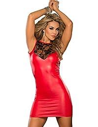 ThreeH Clubwear de las mujeres Ropa interior atractiva Ropa interior del cuero Jumpsuit