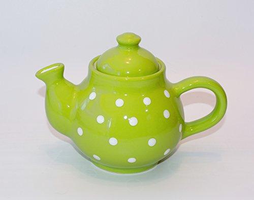 UNGARNIKAT Keramik Kaffeekanne Pastell mit handbemalten Weißen Punkten 0,75 L (Lime)