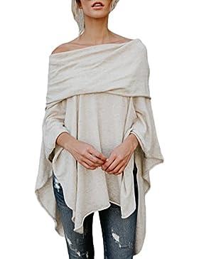 Blusa De Mujer Spring Otoño Poncho Elegante Moda Loose Casual Estilo Retro Chic Color Sólido Irregular Sudaderas...