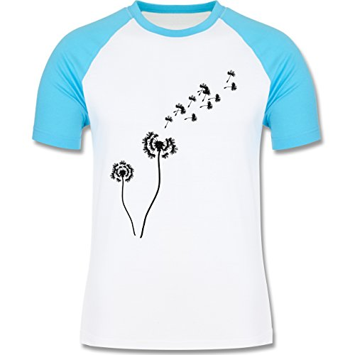 Statement Shirts - Pusteblume Löwenzahn - zweifarbiges Baseballshirt für Männer Weiß/Türkis