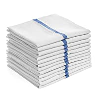 "Elaine Karen Deluxe Kitchen Dish Towels - 100% Cotton, Soft and Absorbent, Dish Tea Cloths, Machine Washable, White with Blue Line - 15""x 26"" - 15pk"
