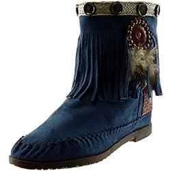 Angkorly - Zapatillas Moda Botines Botas Botas Mocasines Folk Slip-on Mujer Fleco Pluma Tachonado Tacón Ancho 1.5 CM - Azul M866 T 40