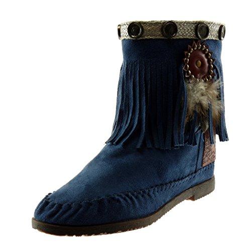 Angkorly - Damen Schuhe Stiefeletten Stiefel - Mokassin Stiefel - Folk - Slip-On - Fransen - Feder - Nieten - besetzt Blockabsatz 1.5 cm - Blau M866 T 37